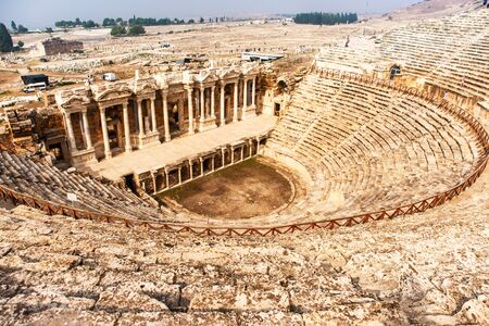 Ruins of theater in ancient Hierapolis city, Pamukkale, Turkey