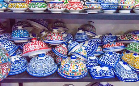 Traditional ceramic pottery on Morocco bazaar, Marakesh Stock Photo