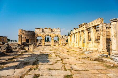 Hierapolis ancient city ruins Pamukkale Turkey.