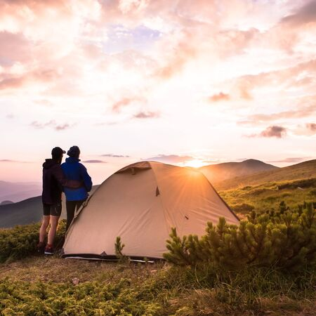 Camping and couple on the top of high mountains Tatry