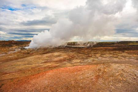 Gunnuhver Hot Springs spectacular landscape with steam from geothermal hot springs in Iceland, Reykjanes
