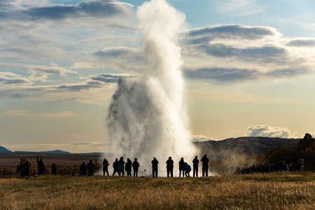 Icelandic Geyser Strokkur. Great tourist attraction on Golgen Circle Iceland. Stock Photo