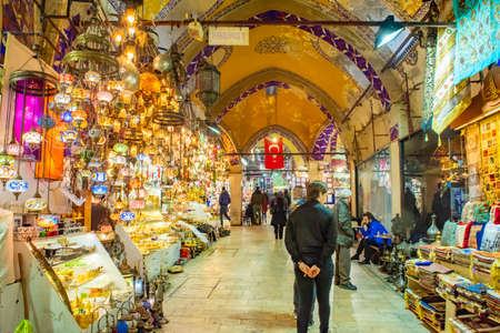 ISTANBUL - MARCH 14 2020: the Grand Bazaar is the most famous oriental covered market in the world. Istanbul, Turkey, Istanbul, Turkey Sajtókép