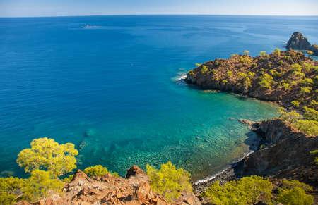 Coastline at Mediterranean sea near Fethiye Kabak Turkey Imagens