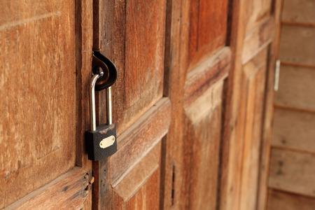 old padlock: Old padlock on the door
