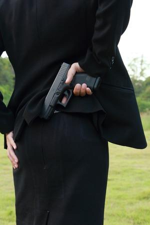 marksmanship: Safe Action with a gun properly. Stock Photo