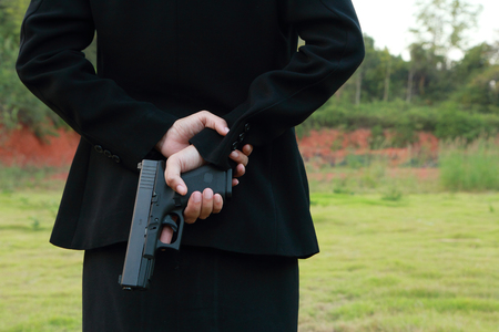 9mm ammo: Safe Action with a gun properly. Stock Photo