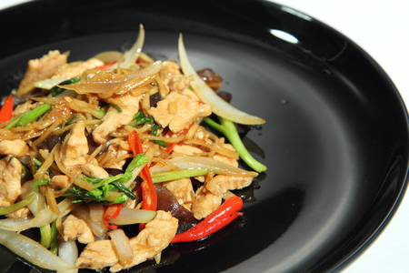 Thailand is a food that has been influenced by the Chinese.  Fried chicken tender wrap with spicy ginger. Stock fotó