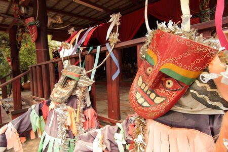 Water Ghost Mask Is a tradition of belief of villagers in Nasaa Sub-district, Chiang Khan District, Loei Province, Thailand Imagens