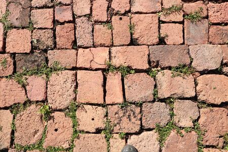 The ancient road surface made of red bricks in Si Thep Historical Park, Phetchabun Province, Thailand Imagens - 130205743
