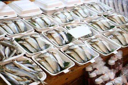 Steamed mackerel stall at Amphawa Floating Market, Samut Songkhram Province, Thailand Imagens