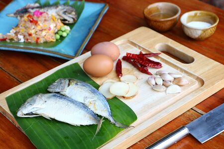 Ginger, garlic, chilli and mackerel eggs as raw materials for making fried rice, mackerel chili paste