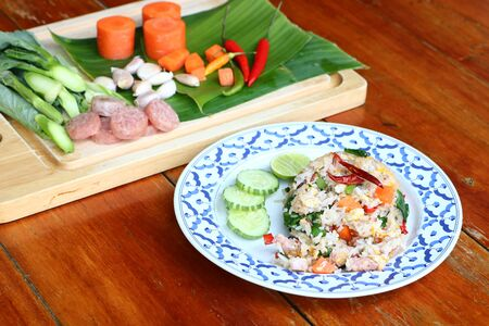 Fermented port fried rice is a popular food in Thailand. Imagens