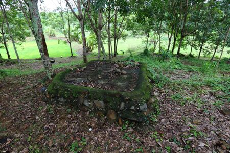 Remnants of a bunker base for gun installation against Lao soldiers of the Hmong Laotian refugees in Pak Chom District, Loei Province, Thailand Imagens - 132021060