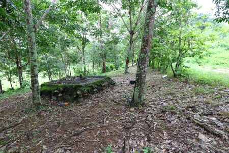 Remnants of a bunker base for gun installation against Lao soldiers of the Hmong Laotian refugees in Pak Chom District, Loei Province, Thailand Imagens - 132021062