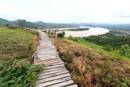 Wooden bridge for walking along the Mekong River and Laos at Phu Lam Duan, Pak Chom District, Loei Province, Thailand