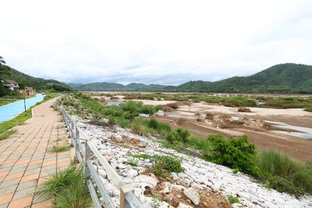 Mekong River after the water level drastically reduced from Chinese dam construction on September 18, 2019. Imagens - 131879412