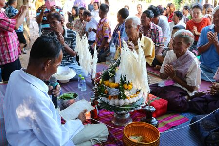 The elderly enter the ancient wedding ceremony for the second time on 20 August 2019 in Phu Ho Sub-district, Phu Luang District, Loei Province, Thailand.