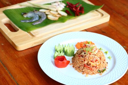 Tom Yam Kung Fried Rice is a popular food in Thailand. Imagens