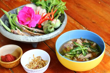 Dry  fish curry with mixed vegetables is a local food in northeastern Thailand. Imagens