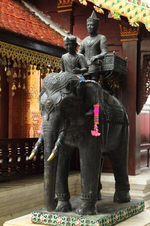 Statues of the former Lanna ruler Elephant riding If elephants stop anywhere, they will build a pagoda to contain the relics there. Imagens - 147853747