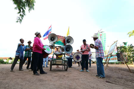 Thai rural bands and sound systems performed at their wedding on 20 August 2019 in Phu Ho Sub-district, Phu Luang District, Loei Province, Thailand.