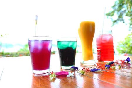 Local fruit juice Contains mango juice, butterfly pea juice, Roselle flower juice is Thai traditional herbal juice.