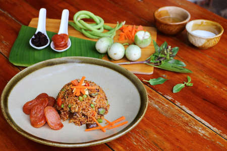 Mushroom fried rice and Chinese sausage Is a popular food eaten in Thailand.