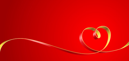 Ribbon entwined in a heart on a red background. Vector illustration.