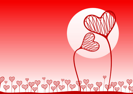 Hearts in the form of plants against the evening sky and заходящнго the sun. A vector illustration. Vector