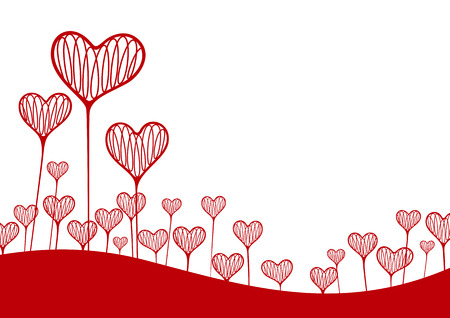 Vector illustration. A background with hearts in the form of plants Çizim