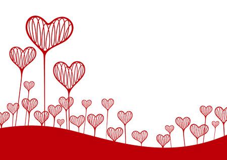 Ilustración vectorial. Un fondo con el corazón en forma de plantas