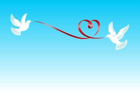 Palomas, д е р ж а ш и е la cinta roja doblado en forma de un corazón