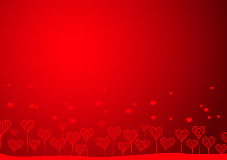 Hearts in the form of a vegetative pattern on a red background. A vector illustration Vector