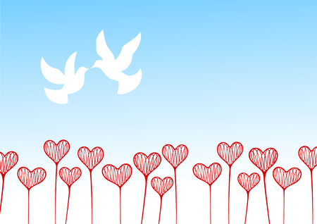 Vector illustration. Hearts in the form of plants against the blue sky with pigeons. Vector