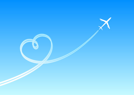 Heart from a plane smoke. A vector illustration Illustration