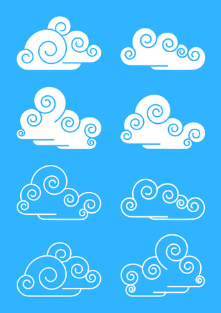 The stylised clouds. A vector illustration