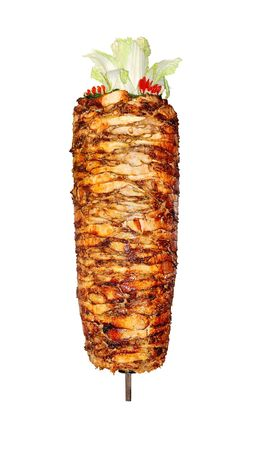 meat skewers: Chicken for Shawarma, which is fried. Stock Photo