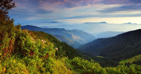 Landscape of summer mountains with the blue sky and clouds. The Ukrainian Carpathians photo