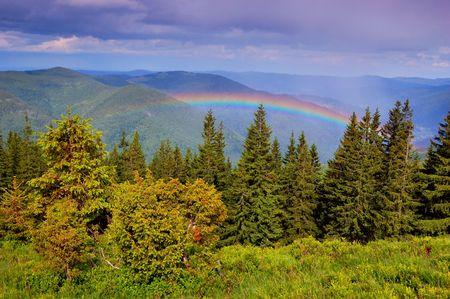 Rainbow after a rain in mountains Carpathians, Ukraine photo