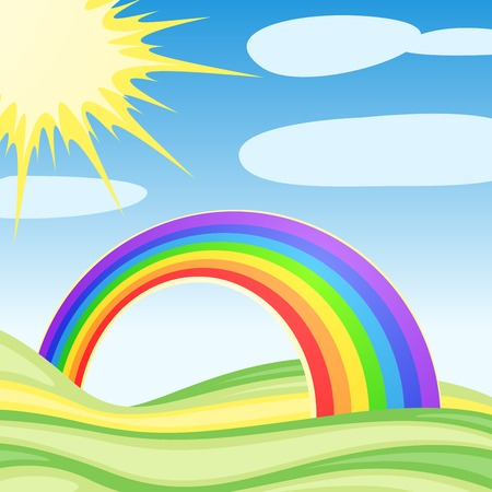 Background with clouds and a rainbow Иллюстрация