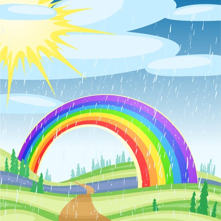animation: Rainbow against the solar blue sky with clouds
