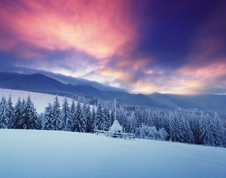 Winter landscape in mountains Carpathians, Ukraine and a valley with huts Stock Photo - 8071571