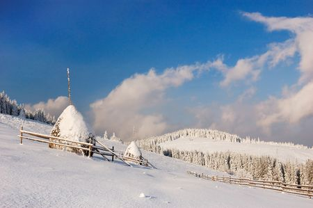 Winter landscape in mountains Carpathians, Ukraine and a valley with huts Stock Photo - 8071564