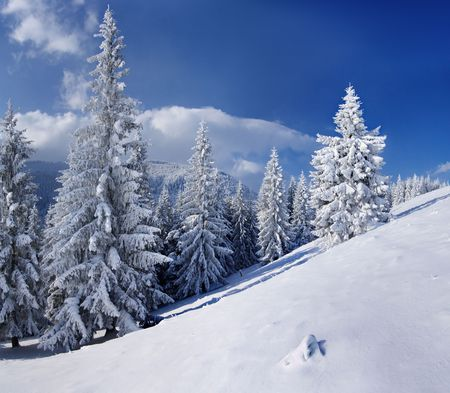Winter landscape in mountains Carpathians, Ukraine and a valley with huts Stock Photo - 8071582