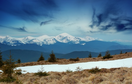 Spring landscape in mountains with snow tops. Ukraine, mountains Carpathians. photo