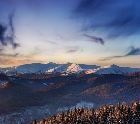 Winter landscape with snow in mountains Carpathians, Ukraine Stock Photo - 8316304