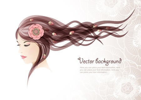 hair: The girl with colors in hair Illustration