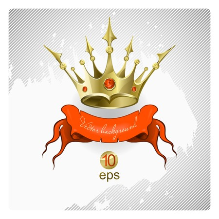 Gold crown with red brilliants Vector