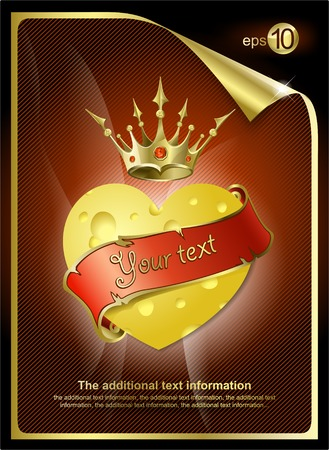 Heart from cheese and a gold crown Stock Vector - 8780704